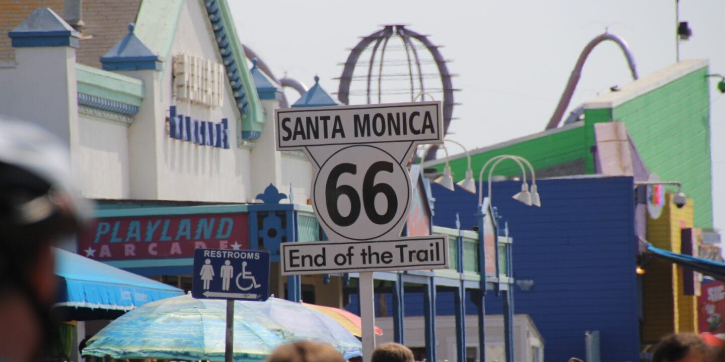 Route 66 End of the Trail Sign in Santa Monica, California